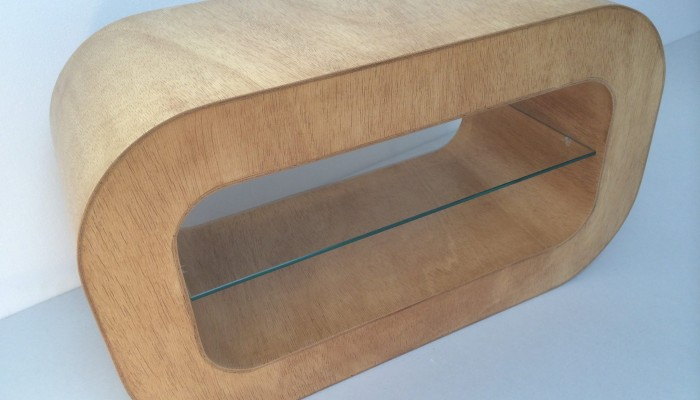 Curved plywood coffee table